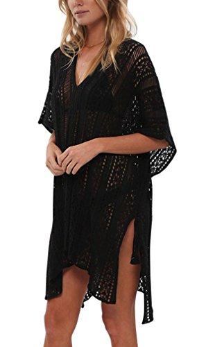 Passme copricostume da bagno donna in maglia uncinetto abito da spiaggia cotone camicetta mare pareo con frange beachwear casual