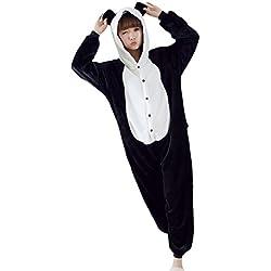 Homme Animaux Flanelle a Capuche Pyjamas motif Panda noir&blanc,XL