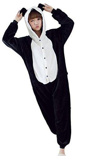 Damen Schlafanzug-Einteiler aus Fleece mit Kapuze Pyjama Set,Panda Motiv,S (Pyjama Set Fleece)