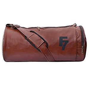 Fashion 7 Leather 30L Tan Sports Duffle Bag (9x9x18)inch