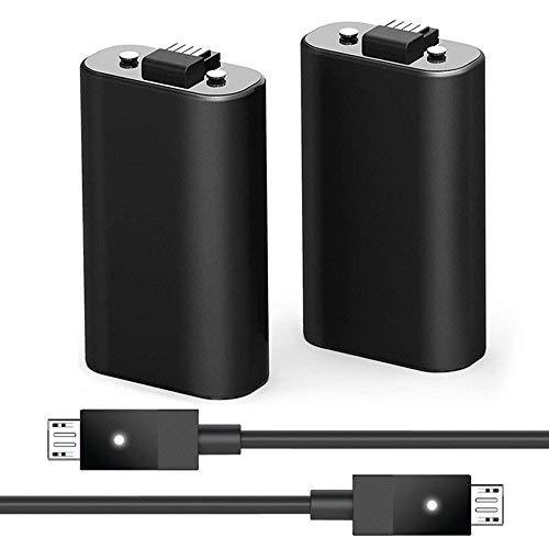 2Pack Xbox One Akku Pack und 2USB Ladekabel Kabel mit LED-Anzeige Licht-Kit für Xbox One/Xbox One X/Xbox One S Controller 2Akku im Lieferumfang Enthalten