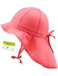 3c2ee39b1 Maximo Sombrero De La Protección Del Cuello Uv Bebé Casquillo Niñas Playa  Gorros Con Cintas Unión Verano Niño Pequeño (MX-64500-427286…