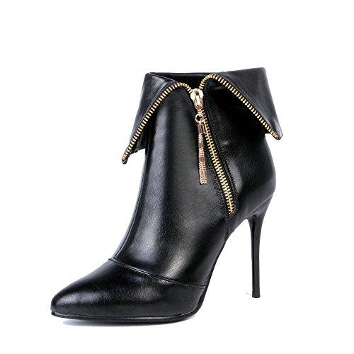 AllhqFashion Damen Reißverschluss Hoher Absatz Knöchel Hohe Stiefel mit Metallisch Schwarz