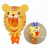 Cisixin Bébé Distributeur Automatique de Dentifrice, Cartoon Tigre Toothpaste Squeezer
