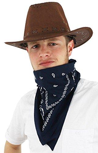 West Wild Kostüm Tanz - ILOVEFANCYDRESS Dunkel brauner Cowboy Hut in künstlichen Wildleder mit einem wunderschönen dunkel blau gemusterten Halsband
