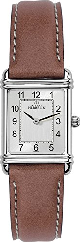 Michel Herbelin Art Deco Women's Quartz Watch with Grey Dial Analogue Display and Brown Leather Strap 17478/22GO
