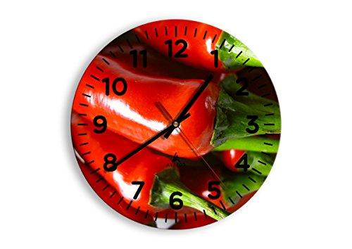 Horloge Murale - Ronde - Horloge en Verre - Pendule murales - 30x30cm - 1135 - Mécanisme d'écoulement - Silencieux - prete a Suspendre - Moderne - Décoration - Pret a accrocher - C4AR30x30-1135