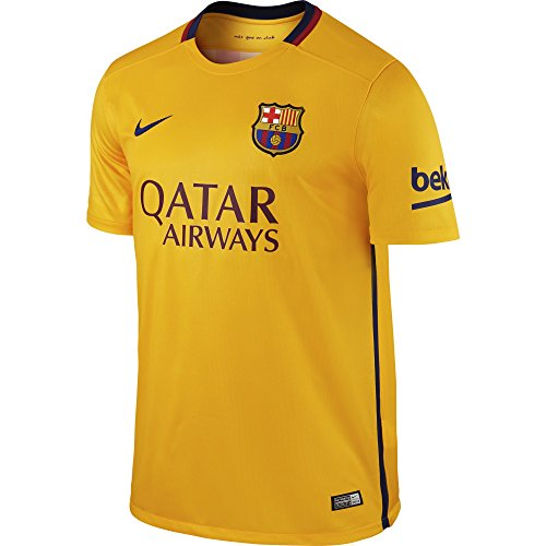 Brand new, official Barcelona Away shirt for the 2015 2016 La Liga season. This authentic football kit is available in adult sizes S, M, L, XL, XXL and is manufactured by Nike.Personalise your FC Barcelona Football Kit with the name and number of yo...