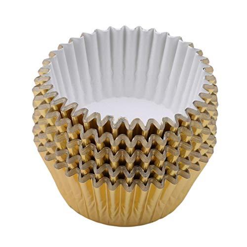 Vektenxi Premium Qualität 100 Teile/Satz Folie Metallic Cupcake Fall Liner Muffin Papier Backförmchen Aluminiumfolie Tassen Back Muffin Cupcake Zinn Mold Light Gold