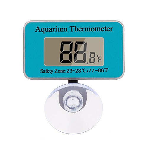 Berrose Aquarium wasserdicht elektronisch Digitaler Bildschirm Thermometer Tauchen Aquarium-Thermometer mit Sauger