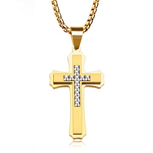 KnSam 18k Gold Vergoldet Kreuz Anhänger Halskette Kruzifix Zirkonia für Herren Damen mit 55cm Popcorn-Kette Gold [Neuheit Halsschmuck]
