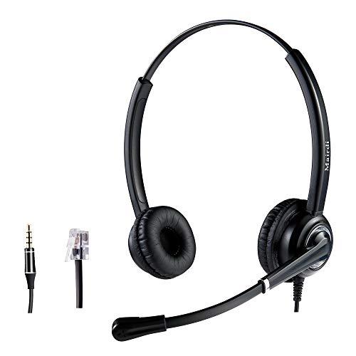Jabra RJ9 Telefon-Kopfhörer mit Geräuschunterdrückung, kompatibel mit Avaya PolyCom Nortel Altigen Toshiba Siemens mit 3,5 mm Anschluss für iPhone, Samsung, HTC, BlackBerry, Kabel 5020 Ip Phone