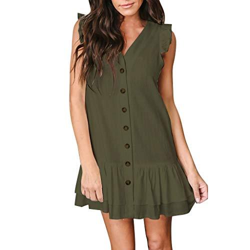 Lucky Mall Damen Mode Einfarbige Ärmellos V-Ausschnitt Rüschenkleid, Frauen Lässiges Kleid mit Knopf Abendkleid Partykleid Bequemes Loses Kleid Sommer Strandrock