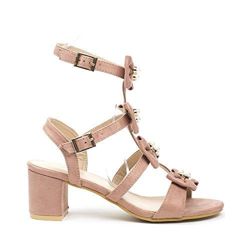 Ideal Shoes , Sandali donna, rosa (Rose), 39
