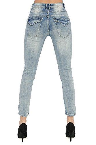 ... Damen Jeans Star Baggy Hose Strass Stern Damenjeans Stretch Damenhose  Jeans Blau