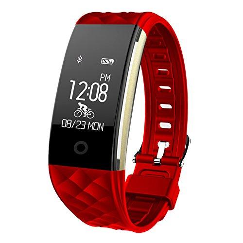 HR Fitness Tracker,Juboury Fitness Armband mit Touchscreen Aktivitäts-Tracker,Herzfrequenz,Schrittzähler,Schlaf Monitor,Treppen Zähler, Kalorien Tracker.Bluetooth Smart Wristand Wearable für Android und IOS Smartphones (Rot)