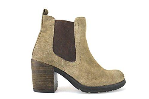 scarpe donna KEYS stivaletti tronchetti beige camoscio AJ145 (39 EU)