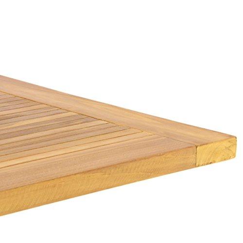 DIVERO GL05527 Klapptisch Balkontisch Gartentisch Esstisch Holz Teak Tisch für Terrasse Balkon Wintergarten witterungsbeständig behandelt massiv klappbar 130×65 cm natur