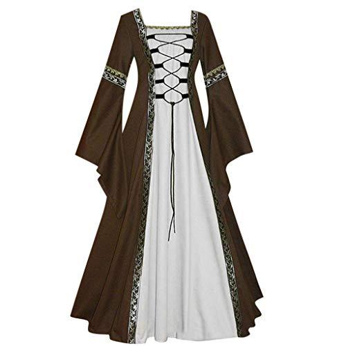 Strungten Frauen mittelalterlichen Renaissance Retro Kleid Cosplay Kostüm Kleid solide ausgestellte Ärmel Prinzessin Gothic Cosplay Kleid (Herr Erdnuss Kostüm Frauen)