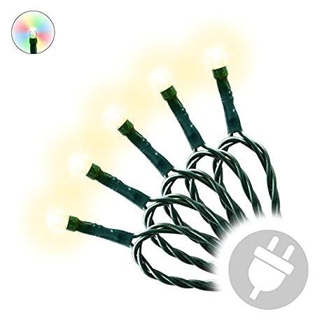 40 LED Lichterkette Innen Außen warm-weiß grünes Kabel mit Trafo Party-Dekoration Weihnachtskette