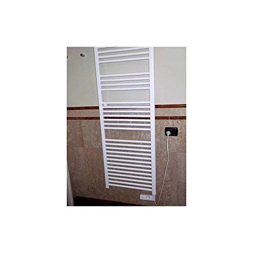 Badheizkörper Handtuchwärmer H1703X L550Heizer Elektro weiß mit Thermostat