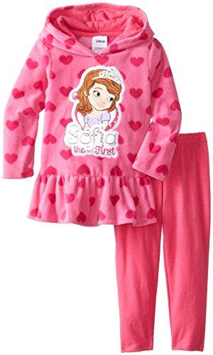 Disney Little Girls' Sofia 2 Piece Heart Fleece Set, Rosey Ring, 2T Disney