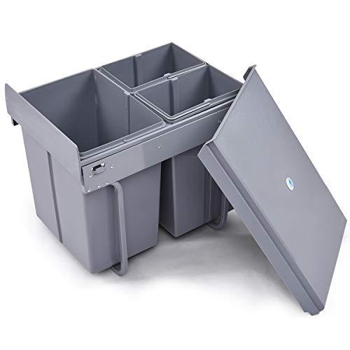 COSTWAY Einbaueimer Abfallsammler Küchen Abfalleimer Mülleimer Vollauszug Mülltrennung Einbauabfallsammler Mülltrennsystem (20L+10Lx2) -