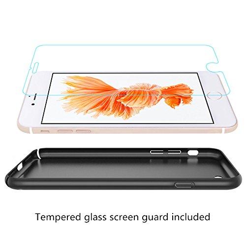 iPhone 6/6S Plus Coque + Protecteur d'écran en verre trempé, [Ultra Mince & Léger] Anti-Rayures Étui en plastique, Résistant aux empreintes digitales Housse, entièrement protecteur dur Case - Rouge Noir
