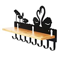 ELECLAND Wall-Mounted Coat Rack Shelf with 8 hooks, Perfect Touch for your Entryway, Cloakroom, Bedroom, Kitchen, Bathroom and More.