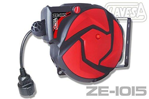 Soporte eléctrico autoenrollable CLAVESA ZE1015. 10m+1m. Cable 3x1,5mm. 1000-3000W