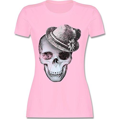 Oktoberfest Damen - Totenkopf mit Filzhut - XXL - Rosa - L191 - Damen Tshirt und Frauen T-Shirt -