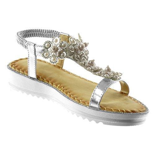 Angkorly Scarpe Moda Sandali Cinturino con Cinturino Alla Caviglia Slip-On Donna Strass Fiori Fantasia Tacco Zeppa 3 cm Argento