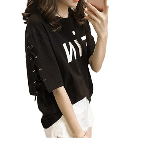 5899f33a229 aicessess Women s Short Sleeve Loose Fit Graceful Skinny Strappy Comfy T  Shirts Black S - Buy Online in Oman.