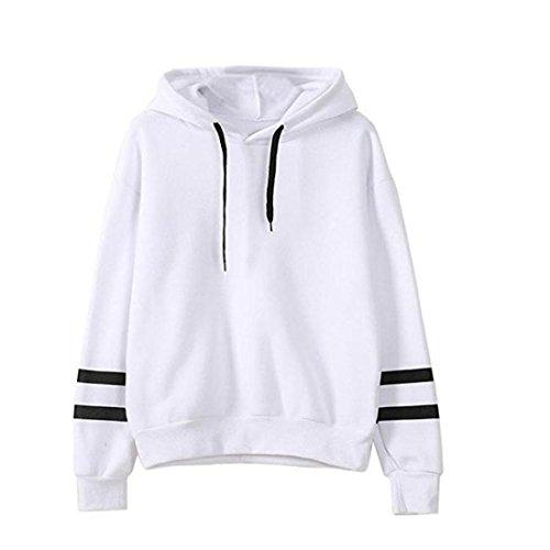 Vertvie Damen Hoodie Sweatshirt Kapuzenpullover Herbst Winter Frauen Jumper Langarmshirt Streetwear Kapuzenpulli Bluse Tops(L, Weiß) Frauen Hoodie