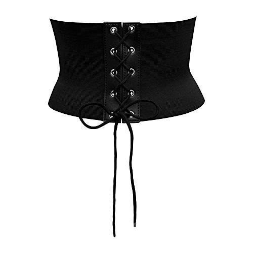 BlackButterfly 5,5 Zoll Breit Korsett Schnüren Elastische Taillengürtel (Schwarz, EUR - Fett Kostüm Damen
