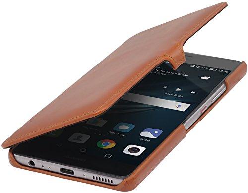 StilGut Book Type Case mit Clip, Hülle Leder-Tasche für Huawei P9 Plus. Seitlich klappbares Flip-Case aus Echtleder für das Original Huawei P9 Plus, Cognac