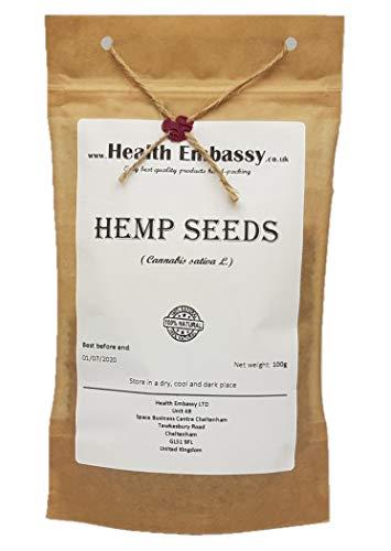 Hanfsamen (Cannabis sativa) 100g / Hemp Seeds - Health Embassy - 100% Natural -
