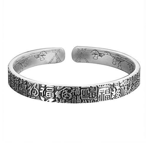 999 reines Silber Armband Silber Armband männlicher Segen Retro Silber handgemachtes massives Silber Silber Armband männliches Herren Armband 30 Gramm, Schmuck Geschenk Geschenk