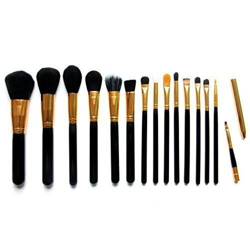 15 Piece synthétique Fondation pinceaux de maquillage cosmétiques eyeliner Professional Premium naturel Kabuki Blending Blush Poudre pour le visage Brosse pinceau de maquillage avec étui - black Gold