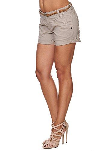 SUBLEVEL Femme Cuba Chino Shorts Bermuda Pantalon Avec Ceinture XS S M L XL Beige