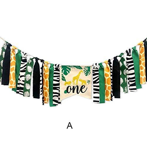 AlexsixDschungel Tiere unter dem Motto Hochstuhl Banner Dekor Crown Party Supplies für Baby 1. Geburtstag