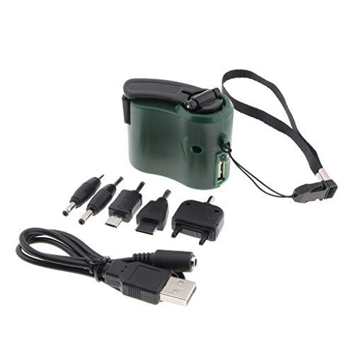B Baosity 8tlg Mini-Hand-Dynamo Set USB-Handy-Notfallstrom Handkurbel-Ladegerät inkl. 5er Ladeadapter für Handys MP3 MP4 - Grün -