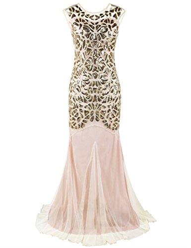 Kayamiya Damen Gatsby Kleid 1920er Perlen Pailletten Maxi Lange Charleston Meerjungfrau Abendkleid 36-38 Gold Beige