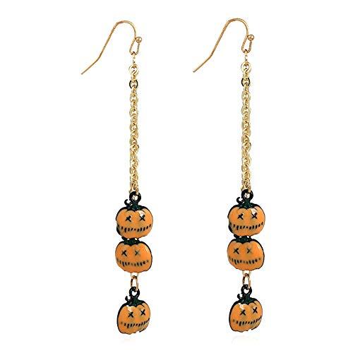 Lumanuby 1 Paar Quaste Ohrringe für Halloween Party Triple Anhänger als Kürbis oder Rot Lippen mit scharfen Zahn Kreative Festival Schmuck für Cosplay, Karneval oder Maskerade size 9.5x1.2cm (Orange Kürbisse)