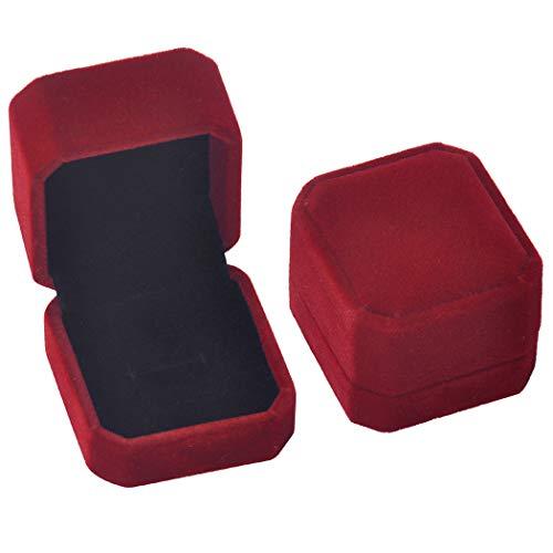 iSuperb 2pcs Velours Boîte de Rangement Bijoux pour Bagues Pendentif Écrin Double pour Alliances de Mariage Fiançailles Earrings Jewelry Box (Boîte de bague A)