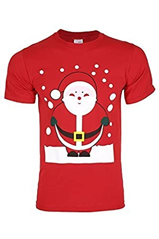 Mens Christmas Santa Snowman Reindeer Penguin Horn Xmas T Shirts Pullover Medium Red