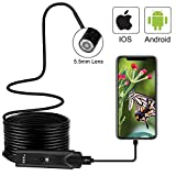 CLY USB Endoscope Waterproof Borescope Type-C Snake Inspection Camera 2.0 MP with 8 Adjustable LED Lights for Android Phone Tablet Device PC Laptop (Black)