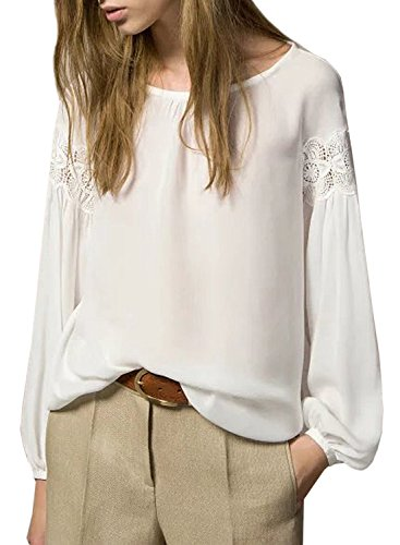 ACHICGIRL Women's Fashion Lace Panel Chiffon Pullover Blouse white