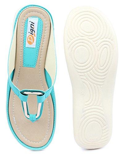 Digni faux cuir féminin extérieur sandale plate 1 pair- choisir la taille Aqua blue