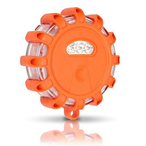 AMBOTHER® Gyrophare Balise de Signalisation LED Lampe d'Avertissement 10 modes d'Eclairage d'urgence 5W 150 lumens (Orange)